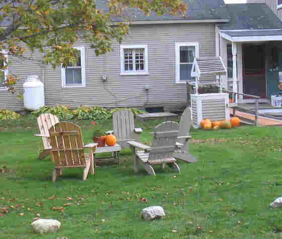 The yard during fall foliage at Shearer Hill Farm Vermont Bed and Breakfast